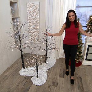 5' Birch Tree with Lights